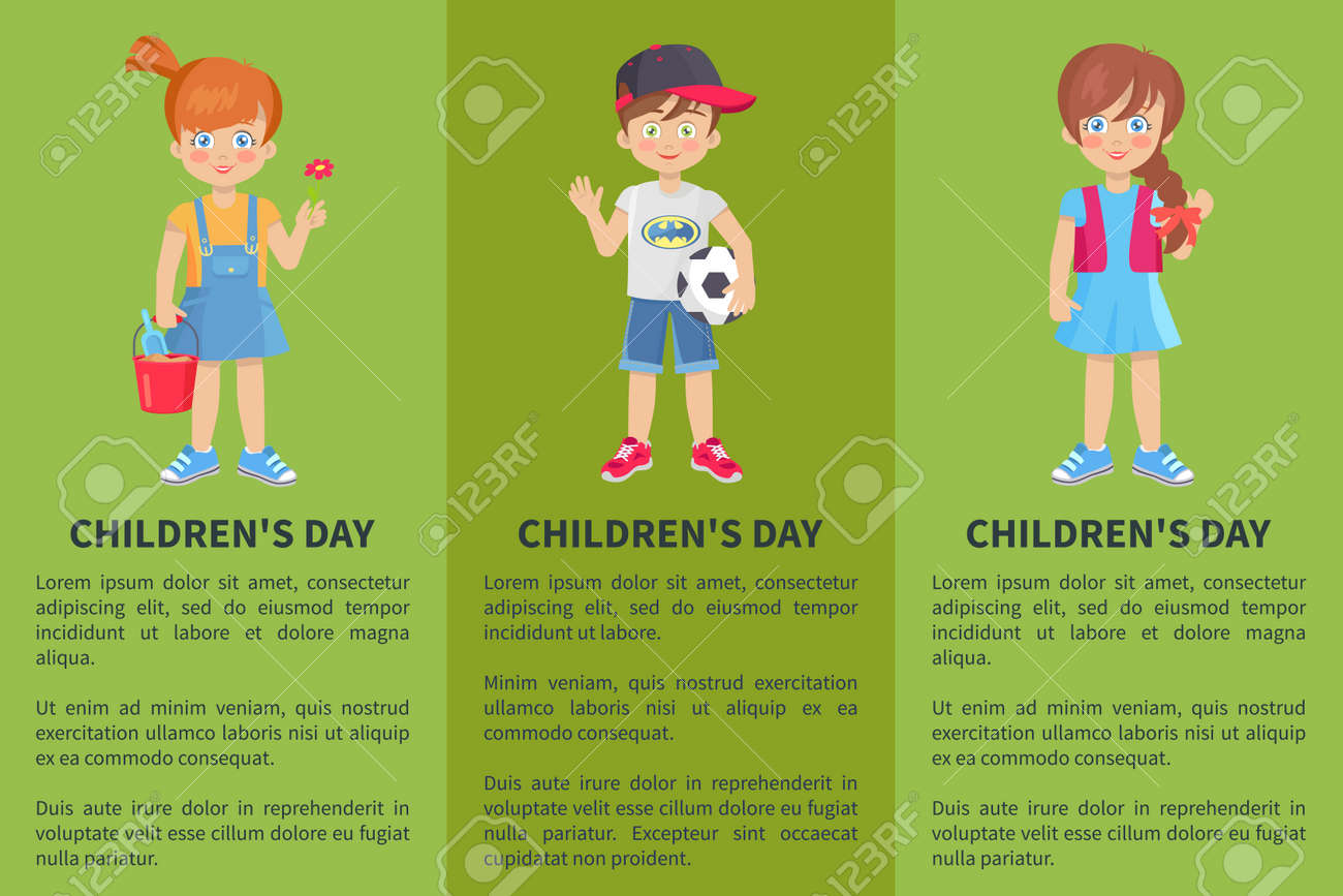 Childrens day web banner with playful boy and girl isolated on green background. Happy schoolboy with ball schoolgirls in cartoon style - 106442586