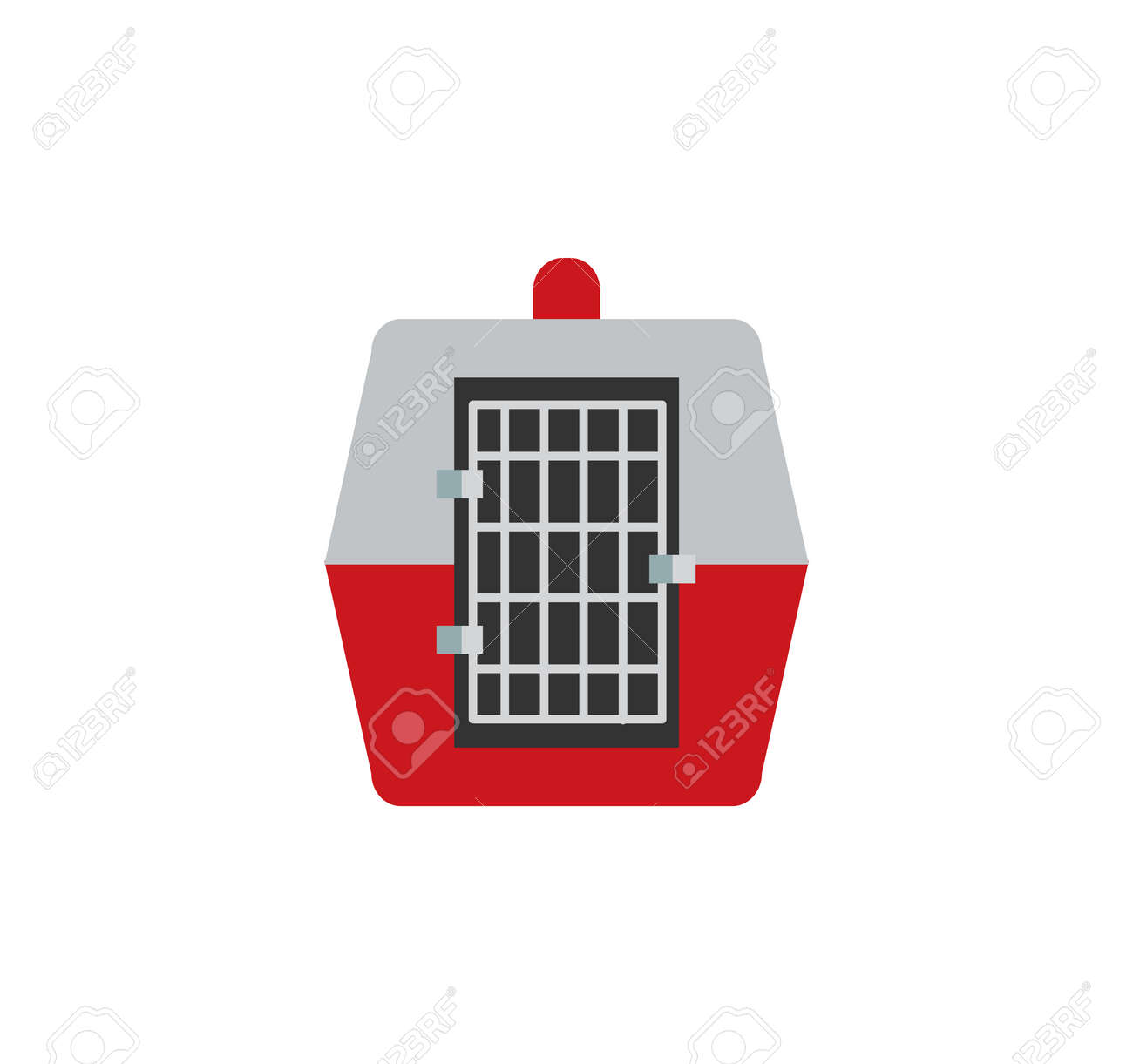 Travel pet carrier for animal in-cabin airline transportation, comfortable cage made of plastic carry-on item allowance by airport vector illustration - 111653816