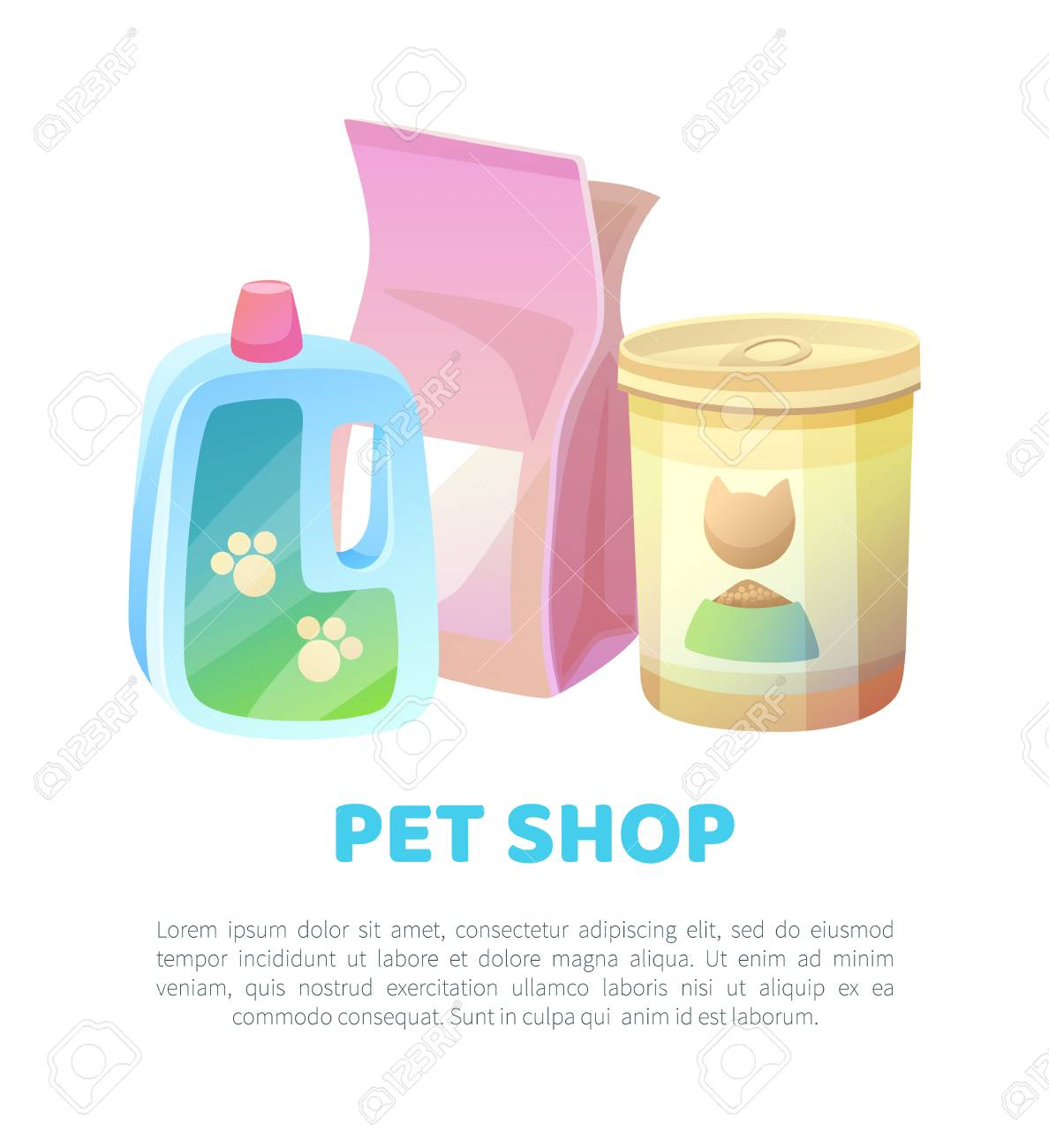 Pet shop banner food and cat filler for toilet, shampoo cleaning moisturizer, products at domestic animals store, text sample and headlines, vector - 111592791