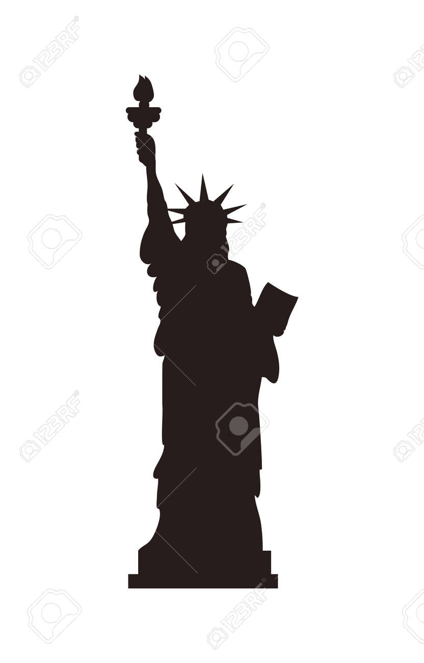 American Statue of Liberty on cubic stand black monochrome silhouette. Monument represented by woman in crown with torch and parchment isolated flat vector - 107217477