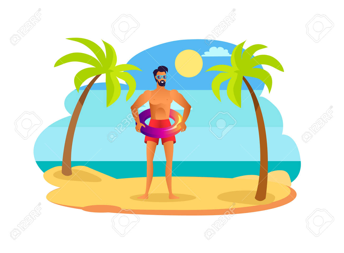 549cf591b4 Man in sunglasses and red swimming trunks with shiny lifebuoy. Handsome  suntanned guy wears swimwear
