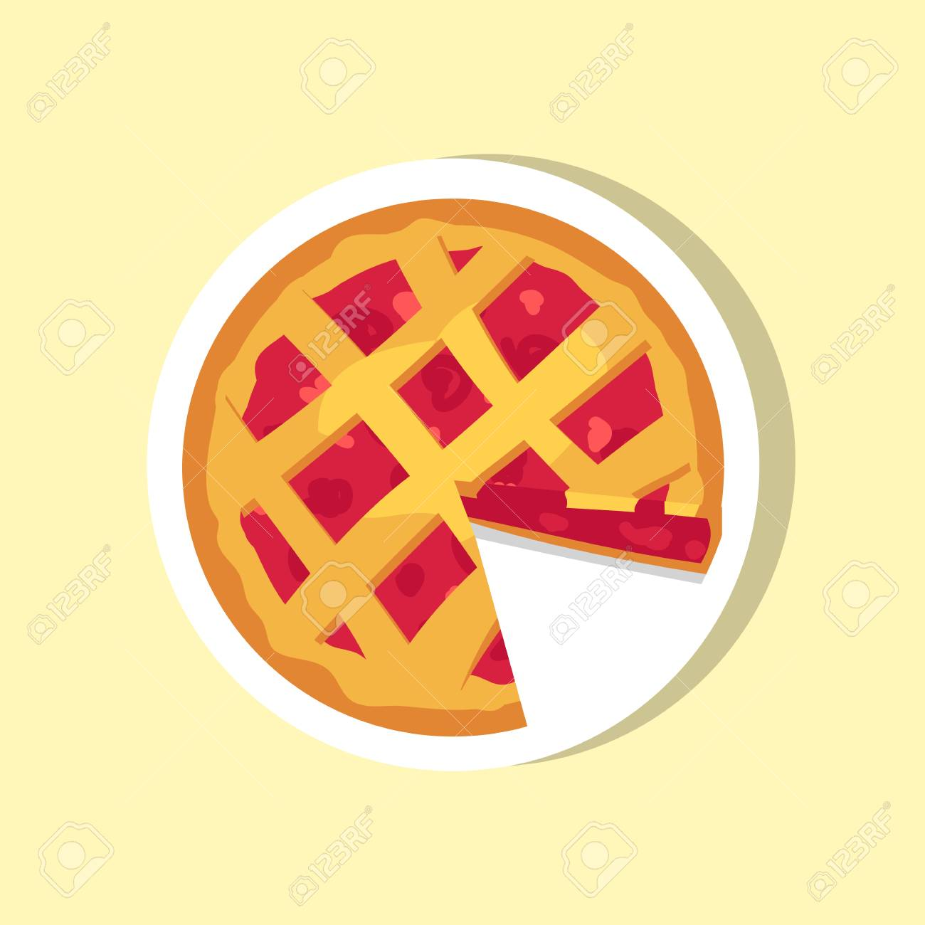 Cherry pie, cut piece of delicious cake vector illustration, sweet dessert in plate isolated on beige background. Strawberry dish with red tasty jam. - 110488047