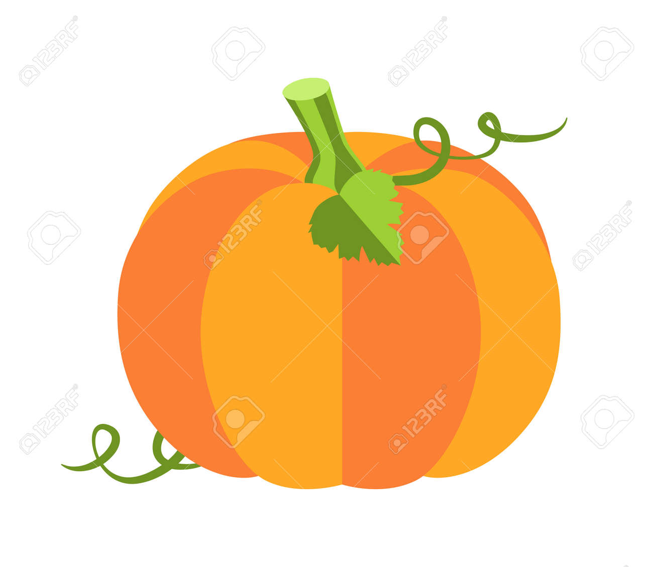Pumpkin with leaves, sweet ripe vegetable of autumn season, princess party and attribute, cartoon vector illustration isolated on white background. - 110488063