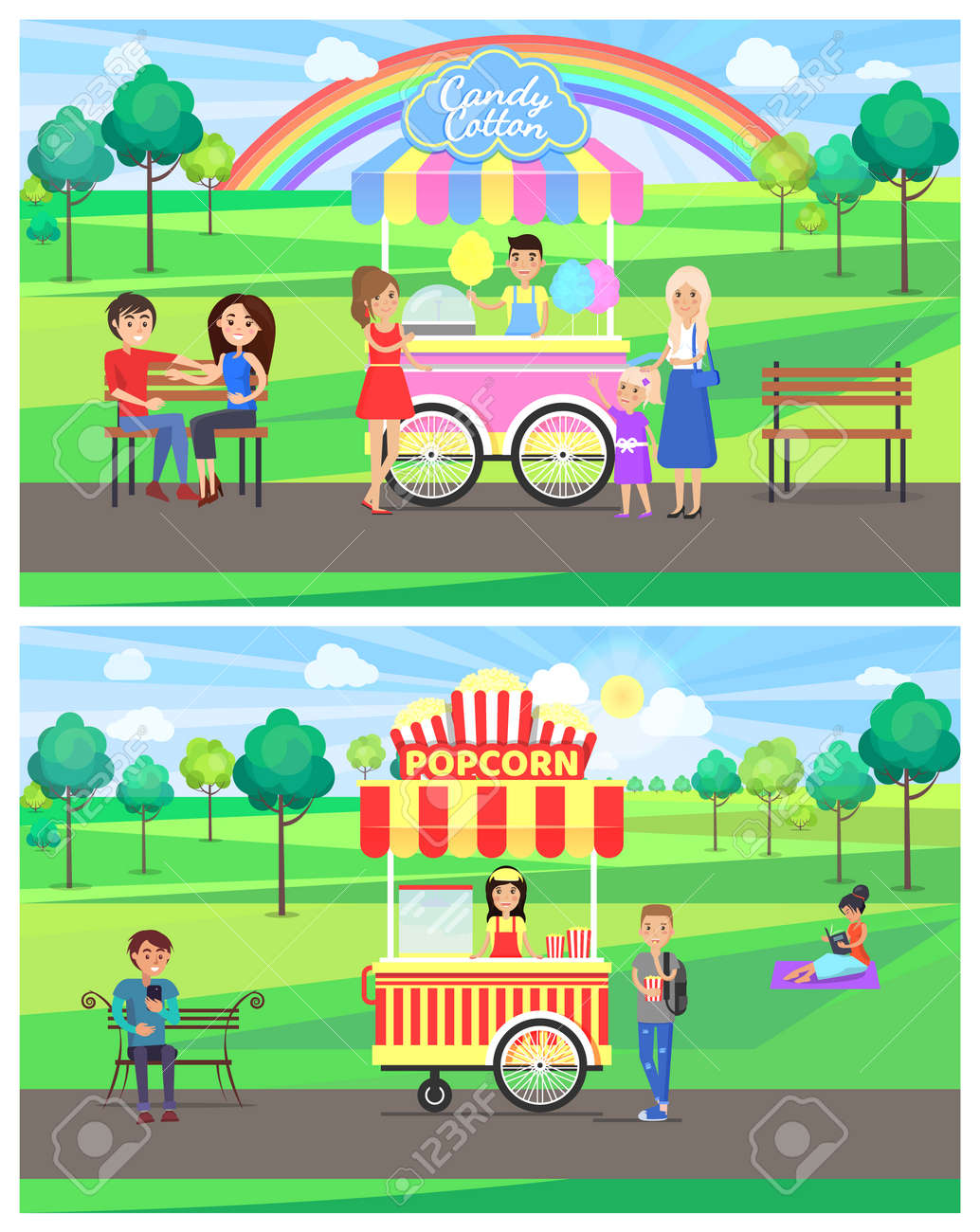 Popcorn and candy cotton stands in park, rainbow happy people,