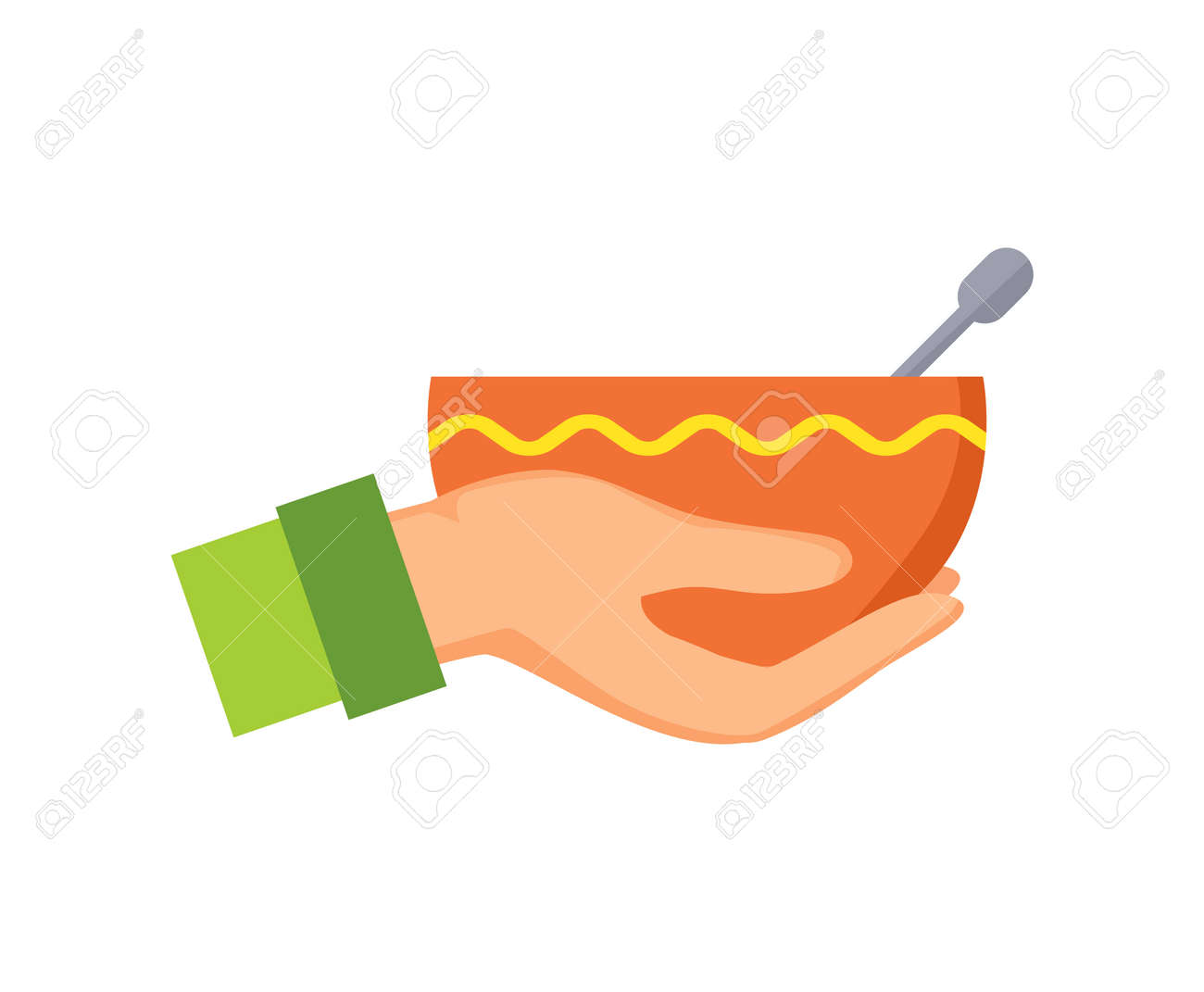 Hand holding bowl with ornament made of yellow line, plate and metal object in it, male arm icon wearing green clothes isolated on vector illustration - 107444031