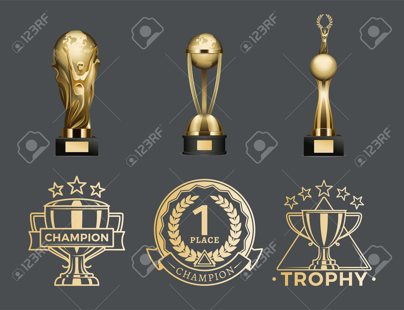 Gold Trophy Cups and Medals for 1st Place Set - 107597443