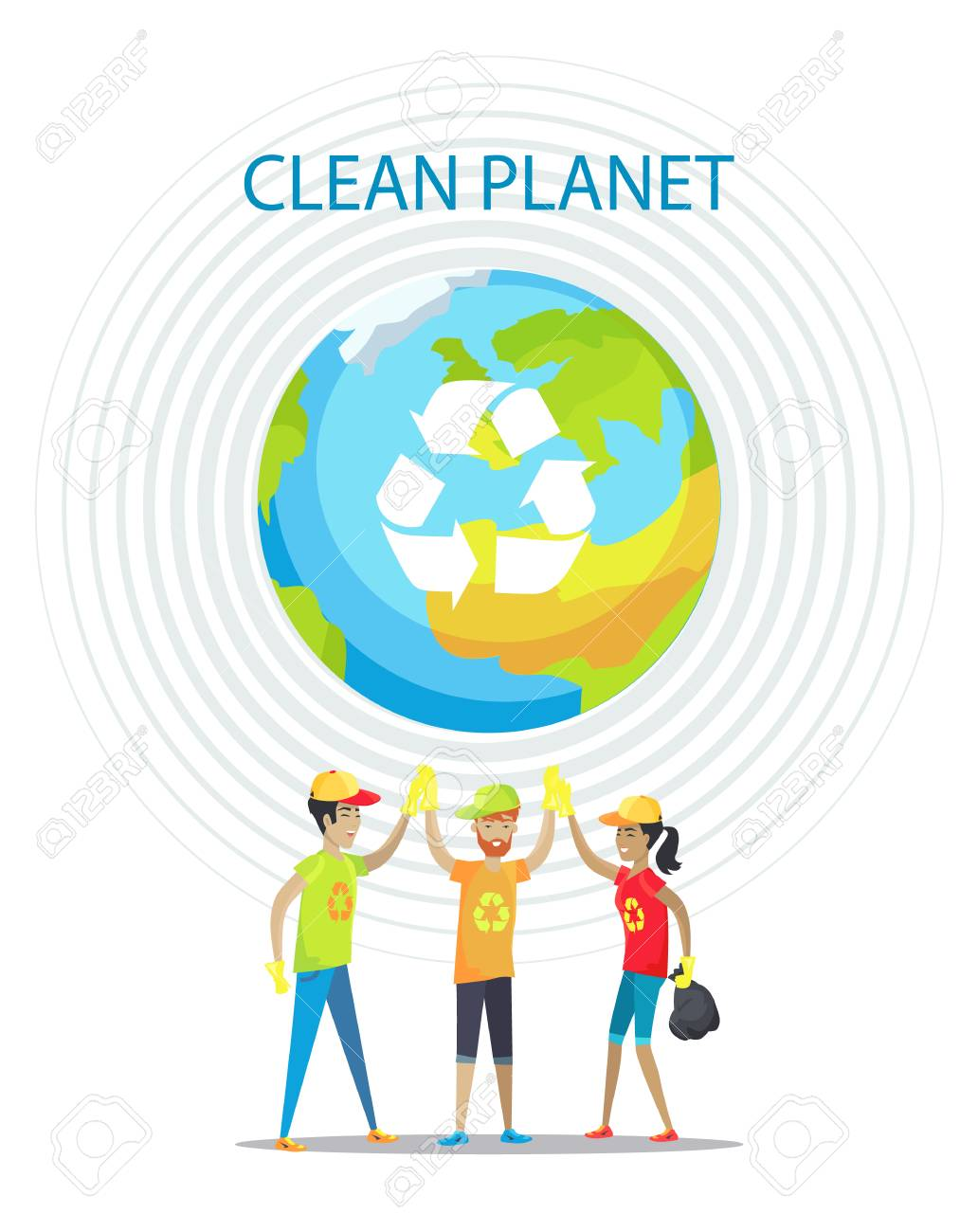 Clean planet motivation poster on white backdrop, isolated vector illustration, Earth image with recycling symbol, circles set and cheerful people - 109016016
