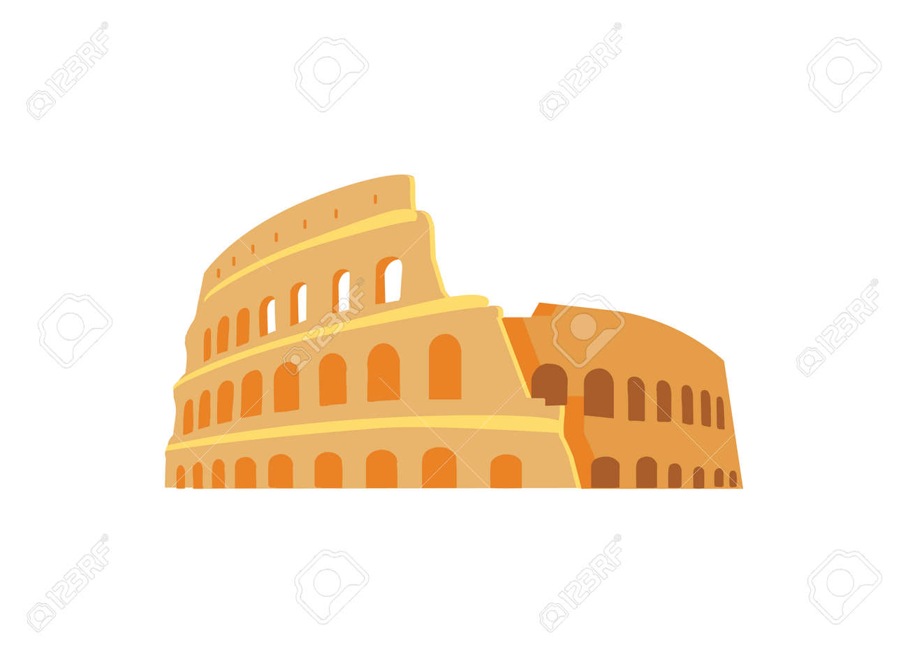 Roman Coliseum Ruins in Ancient Architecture Style - 109854440