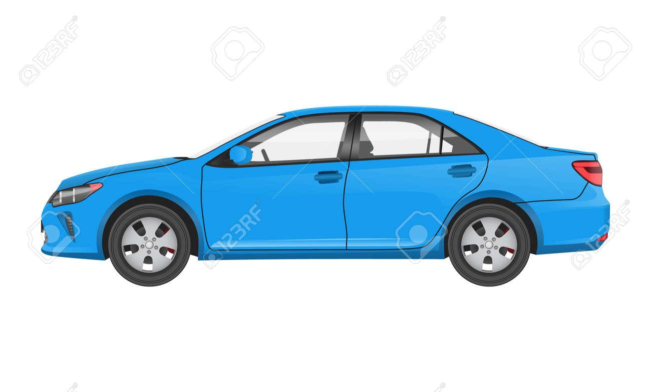 Practical Modern Car in Blue Corpus Side View - 109939857
