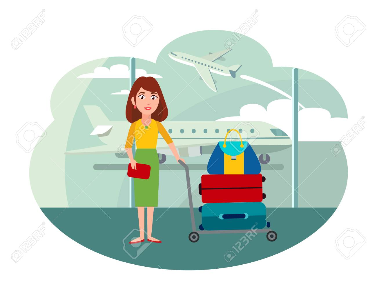 Woman with Trolley full of Baggage at Airport - 109941089