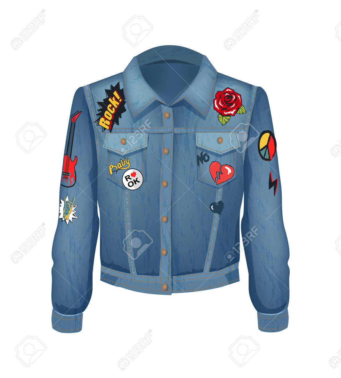 Rock music patches on denim jacket. Jeans shirt with roses in bloom and gestures of rockers. Horned fingers and broken heart, vector illustration - 110800123