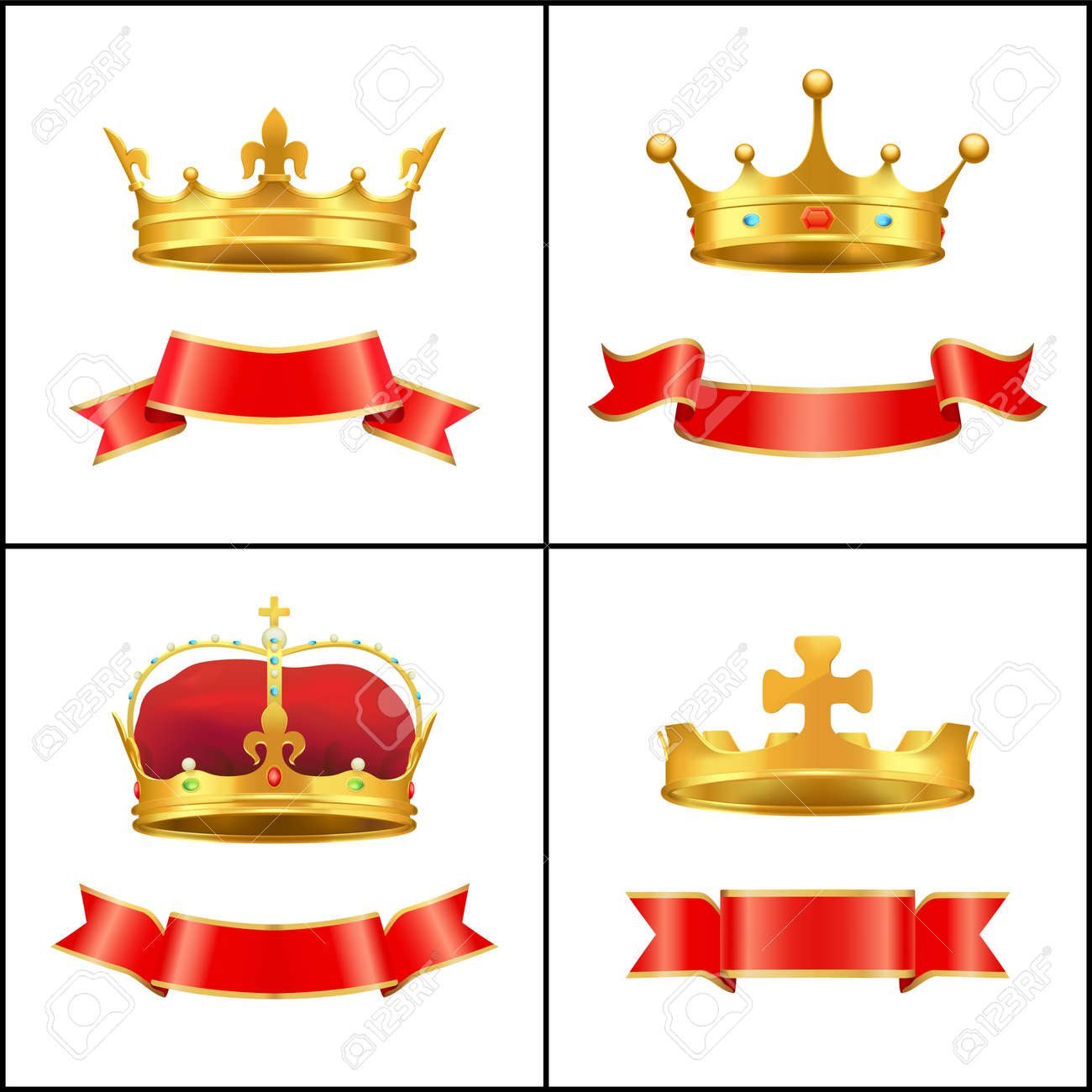 Crown Regal Power and Banner Vector Illustration - 111111427