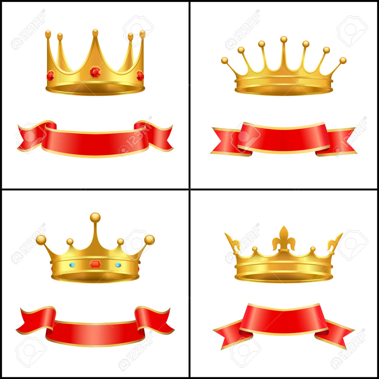 Crown Regal Power and Banner Vector Illustration - 111414709
