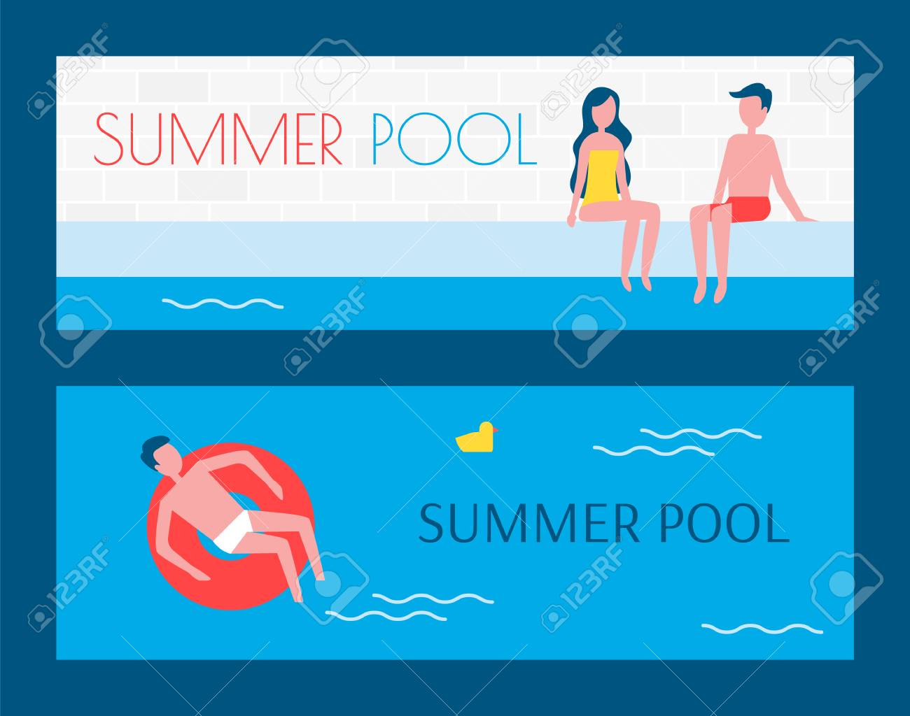Summer swimming pool set of posters with text sample. People..
