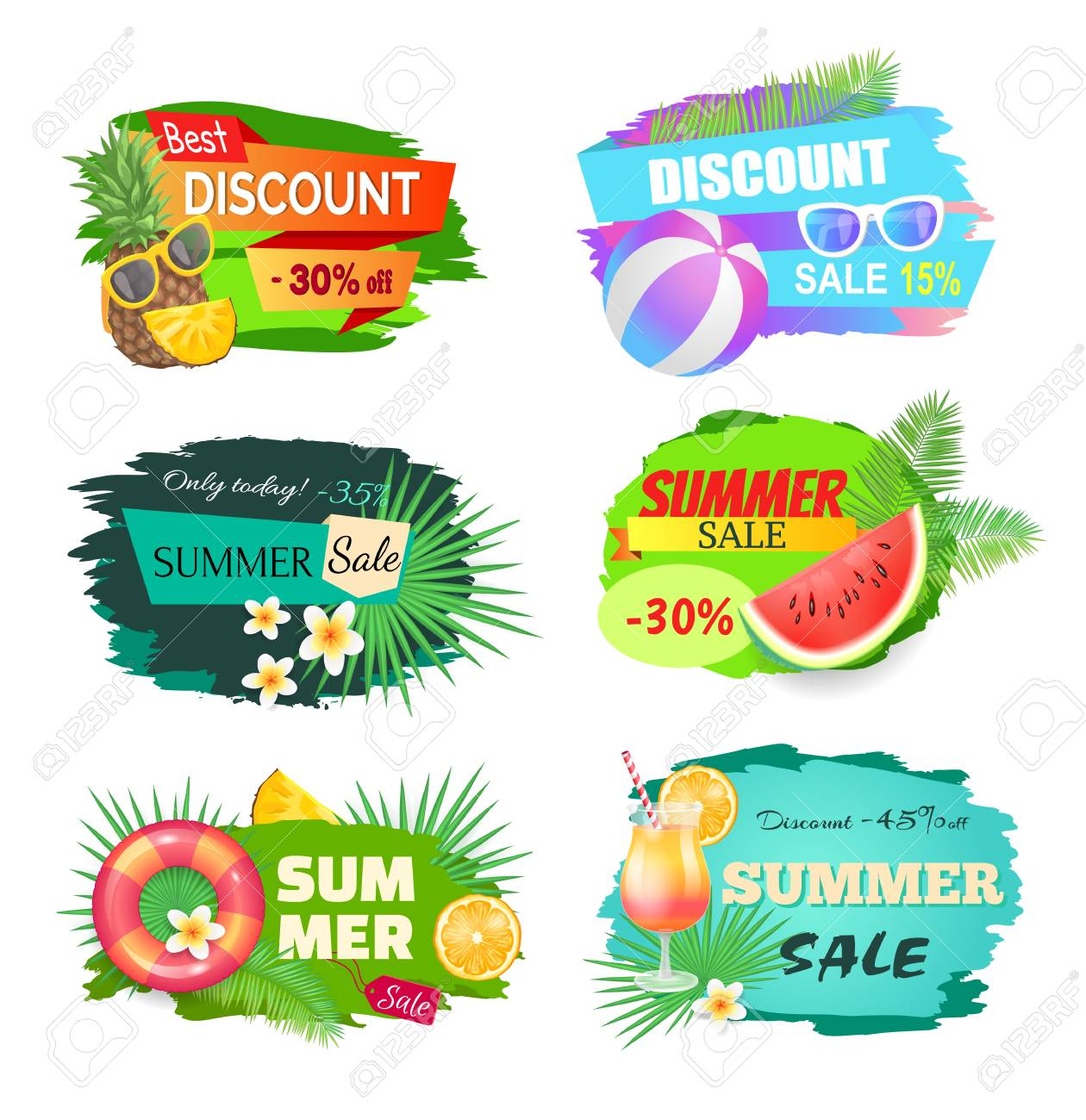 Summer discount summertime set  Lifebuoy and saving ring, watermelon