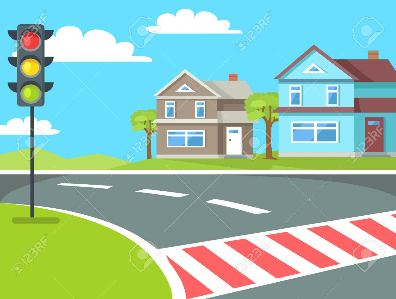 Pedestrian crossing with traffic lights sign on the road at rural countryside vector illustration. Home buildings on background of blue sky - 112403999