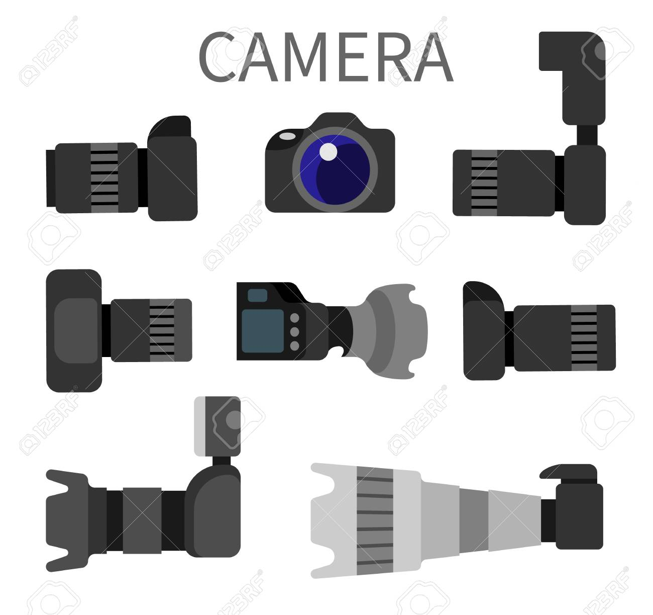 Set of high resolution action cameras with removable lens vector