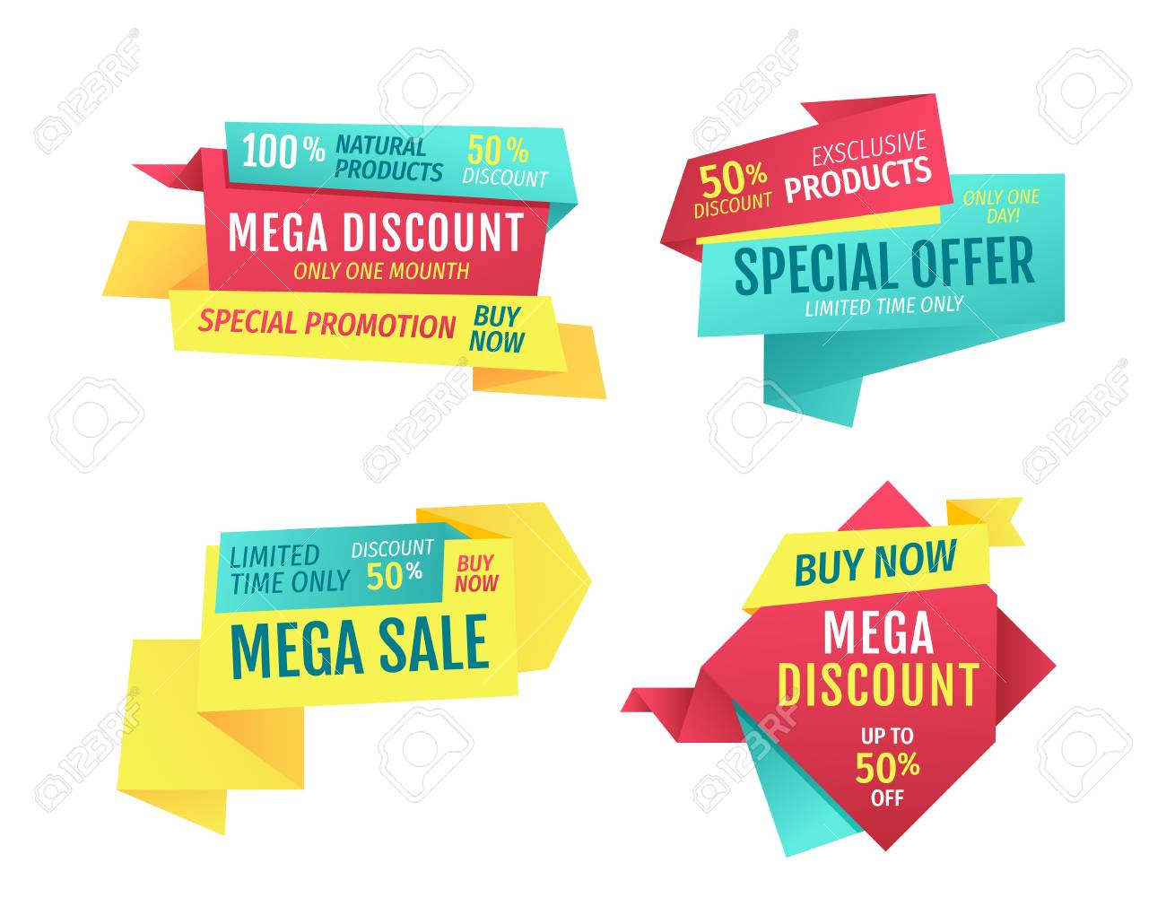 Special offer banners set, vector advertising. Discounts and promotions just month, premium quality, exclusive products only one day. Buy now touting title for super sale in limited time poster - 127221912