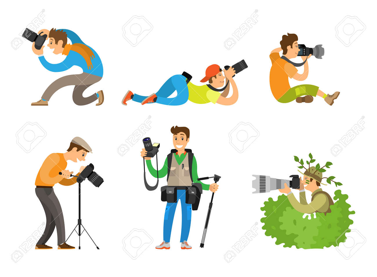 Photographers or paparazzi taking photo with digital cameras from all angles and bush. Journalists or reporters spy and follow vector illustrations. - 127210127
