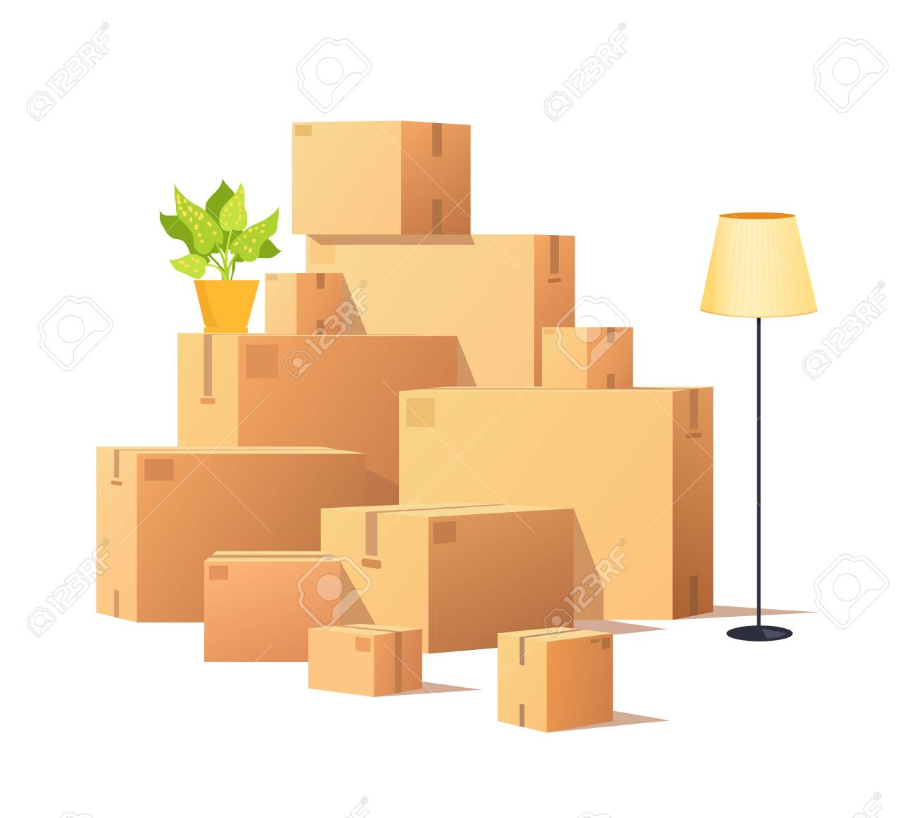 Box carton, closed cardboard packages cargo vector. Torchiere standing lamp and houseplant in pot, potted flower with leaves. Delivery and containers - 127157963