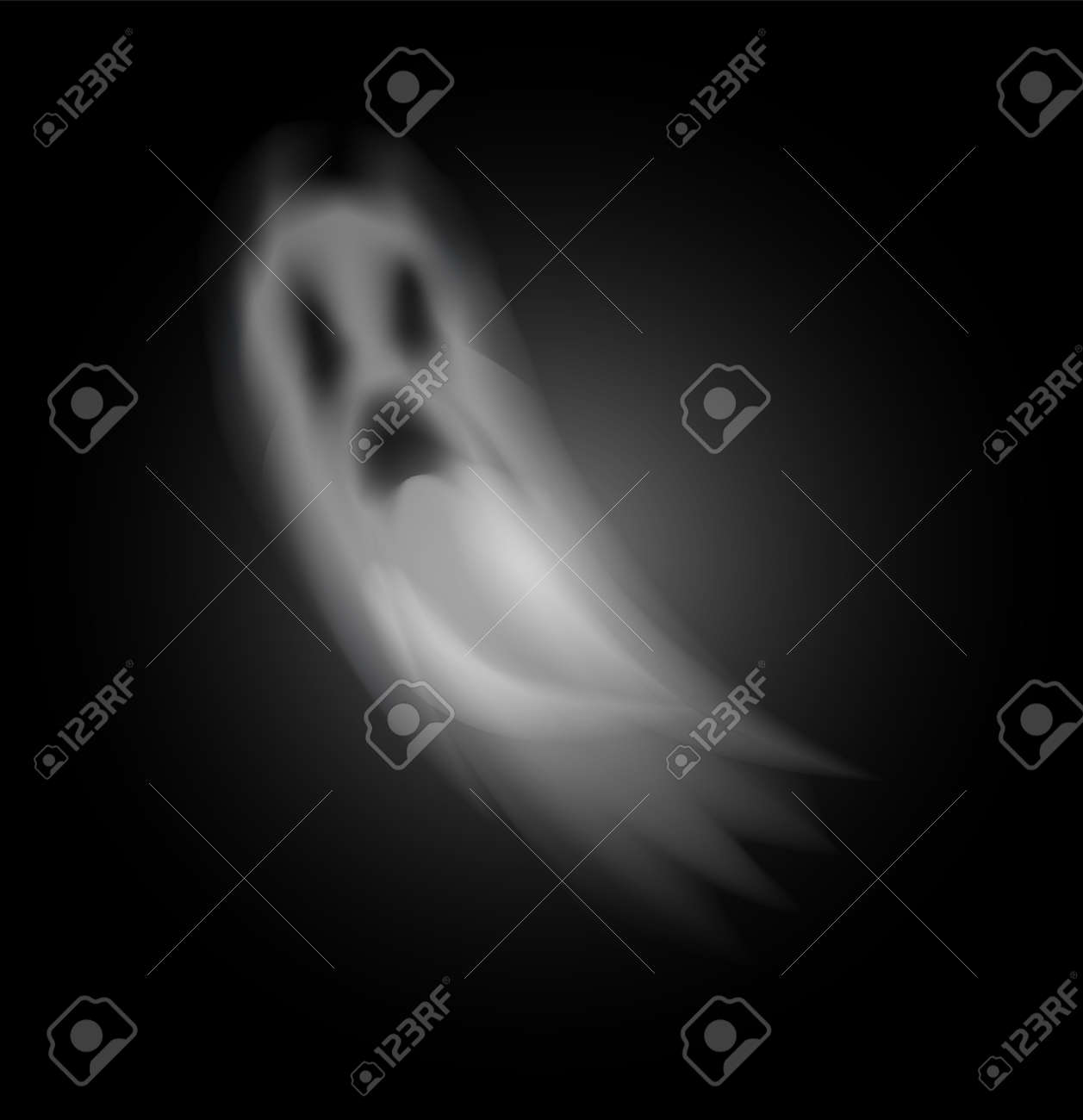 Ghost poltergeist creature halloween isolated icon vector. Scary mysterious spirit haunting people at night. Mystery of horror and spooky apparition - 127116111