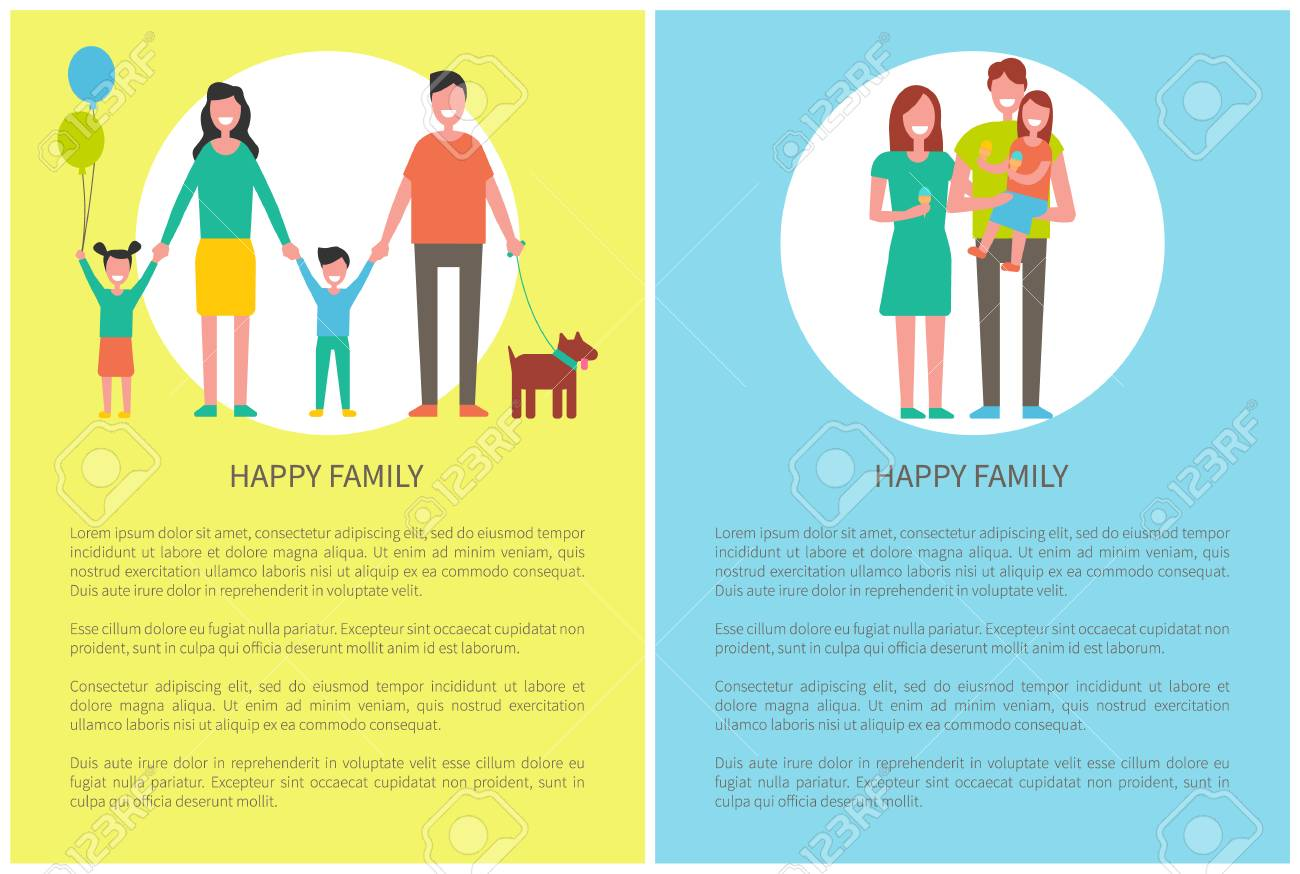 Happy family with pet posters and text sample  Daughter holding