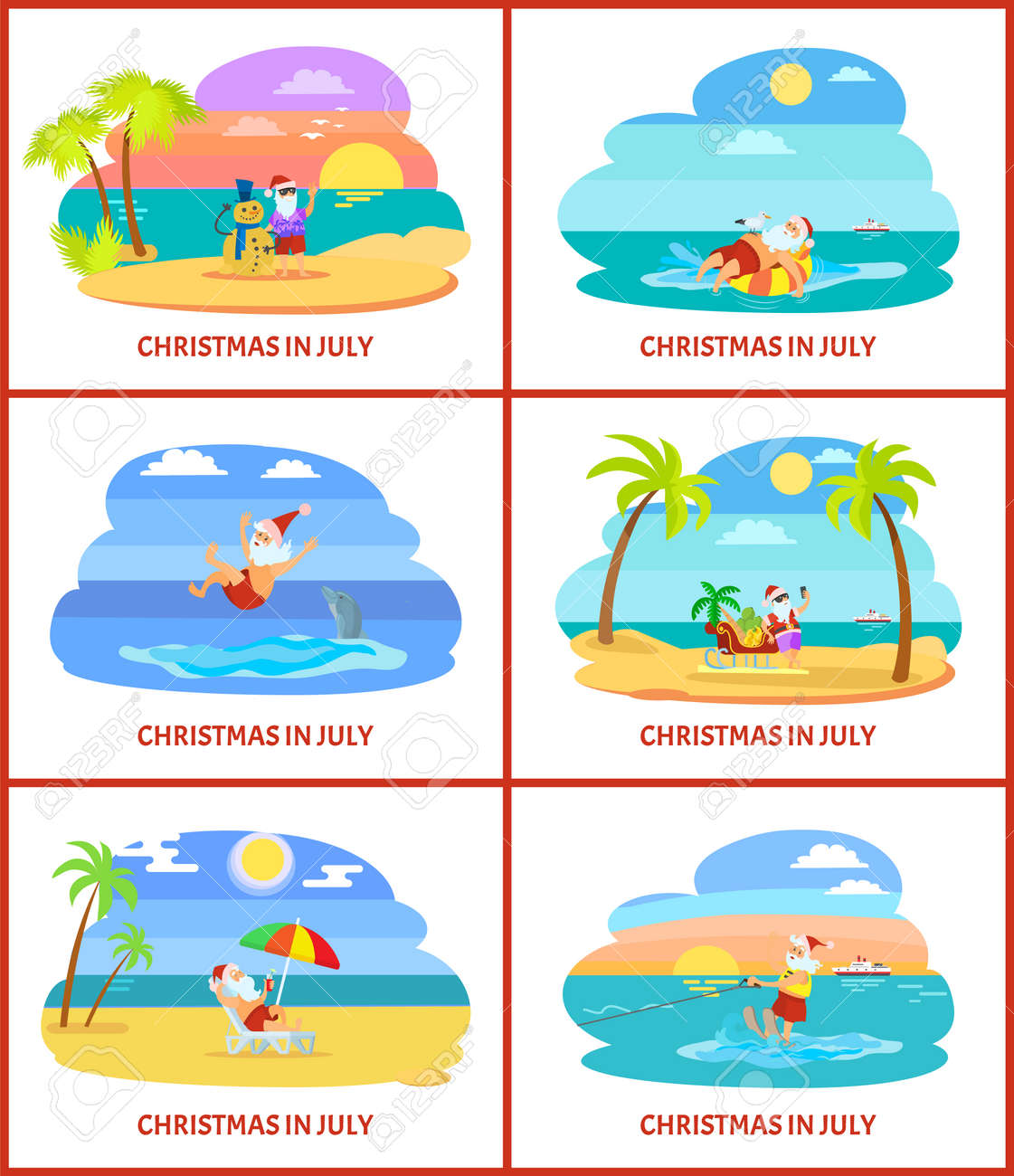 Christmas In July Santa Clipart.Christmas In July Santa Claus With Snowman Made Of Sand Vector