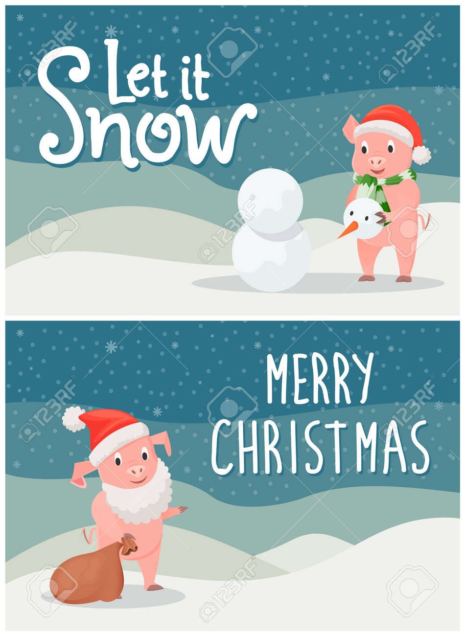 Christmas Postcards.Let It Snow Merry Christmas Postcards With Pigs