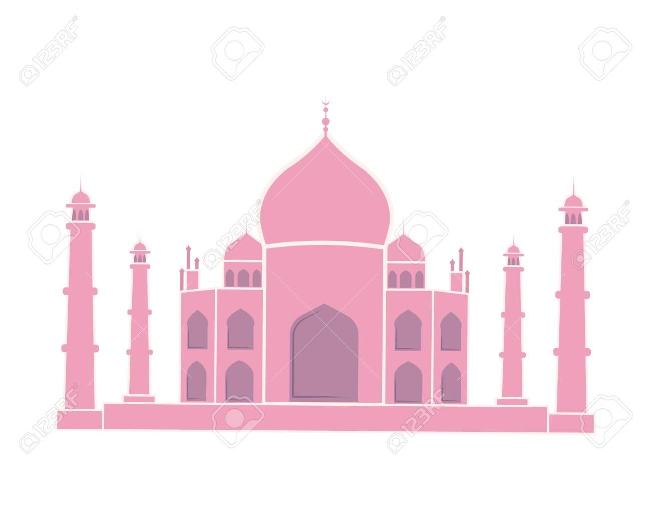 Taj Mahal Indian Landmark Travel Sticker Isolated - 113463088