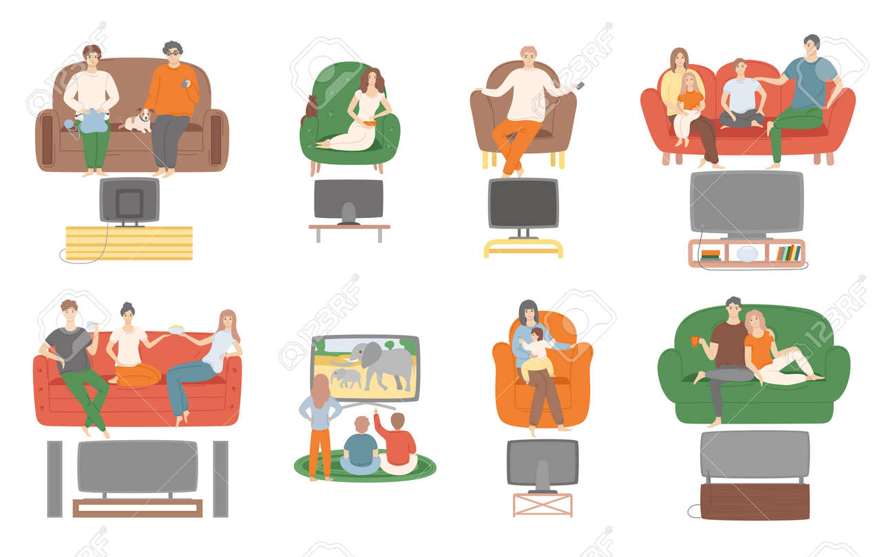 TV television watching, people sitting on couch enjoying film vector. Family and couples spending time at home looking at screen monitor entertainment - 126842976