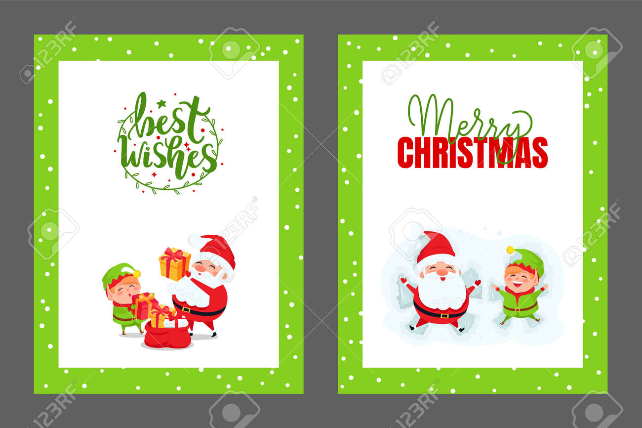 Best Christmas Cards.Best Wishes And Merry Christmas Cards With Santa New Year Postcards