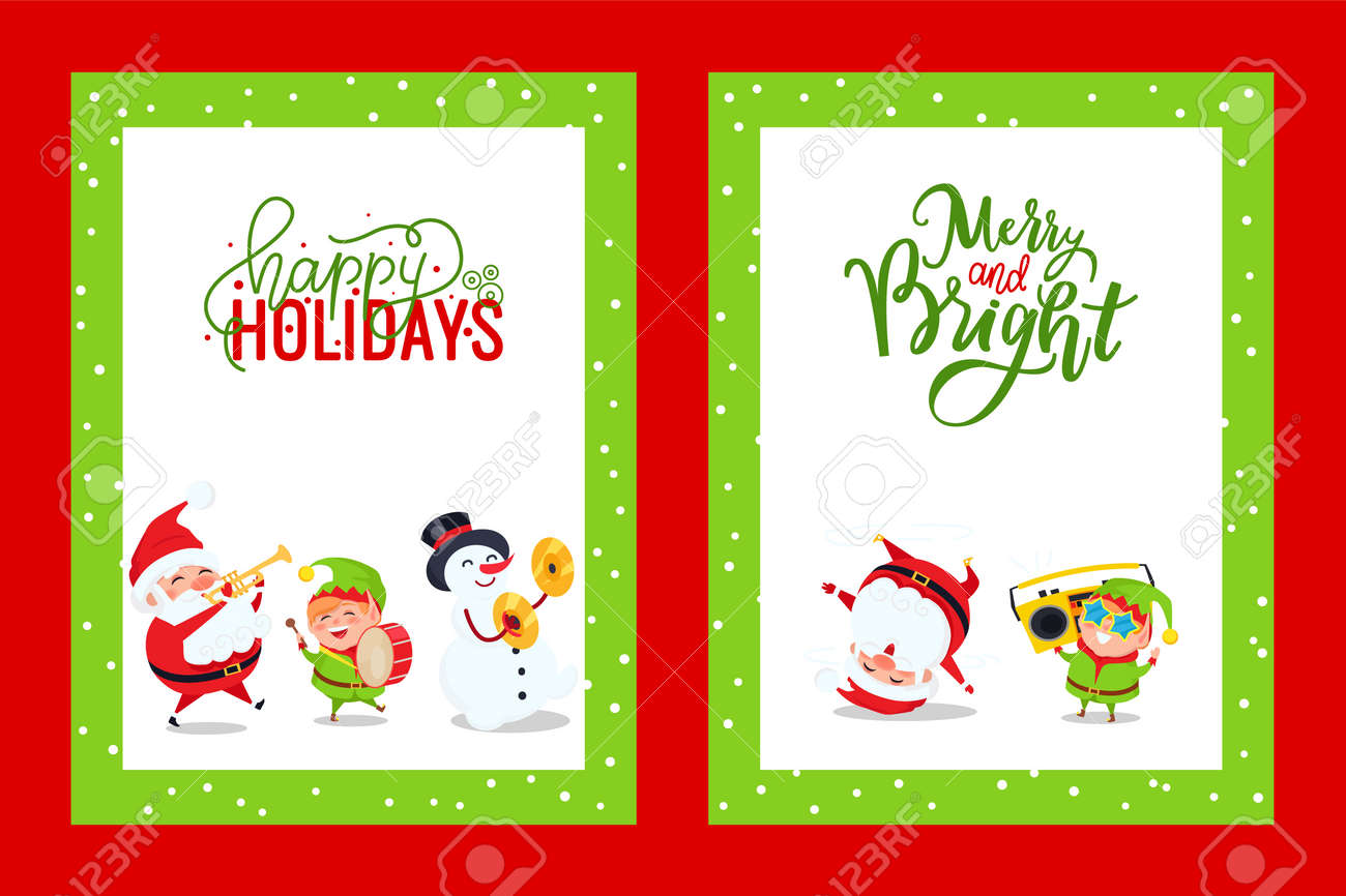 Christmas Postcards.Holiday Greeting Cards With Santa Snowman Elf Vector Merry