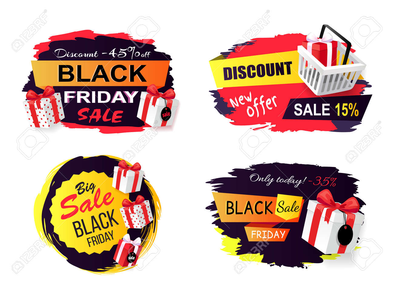Black friday sale promo stickers set of icons advertising coupons with gift boxes wholesale