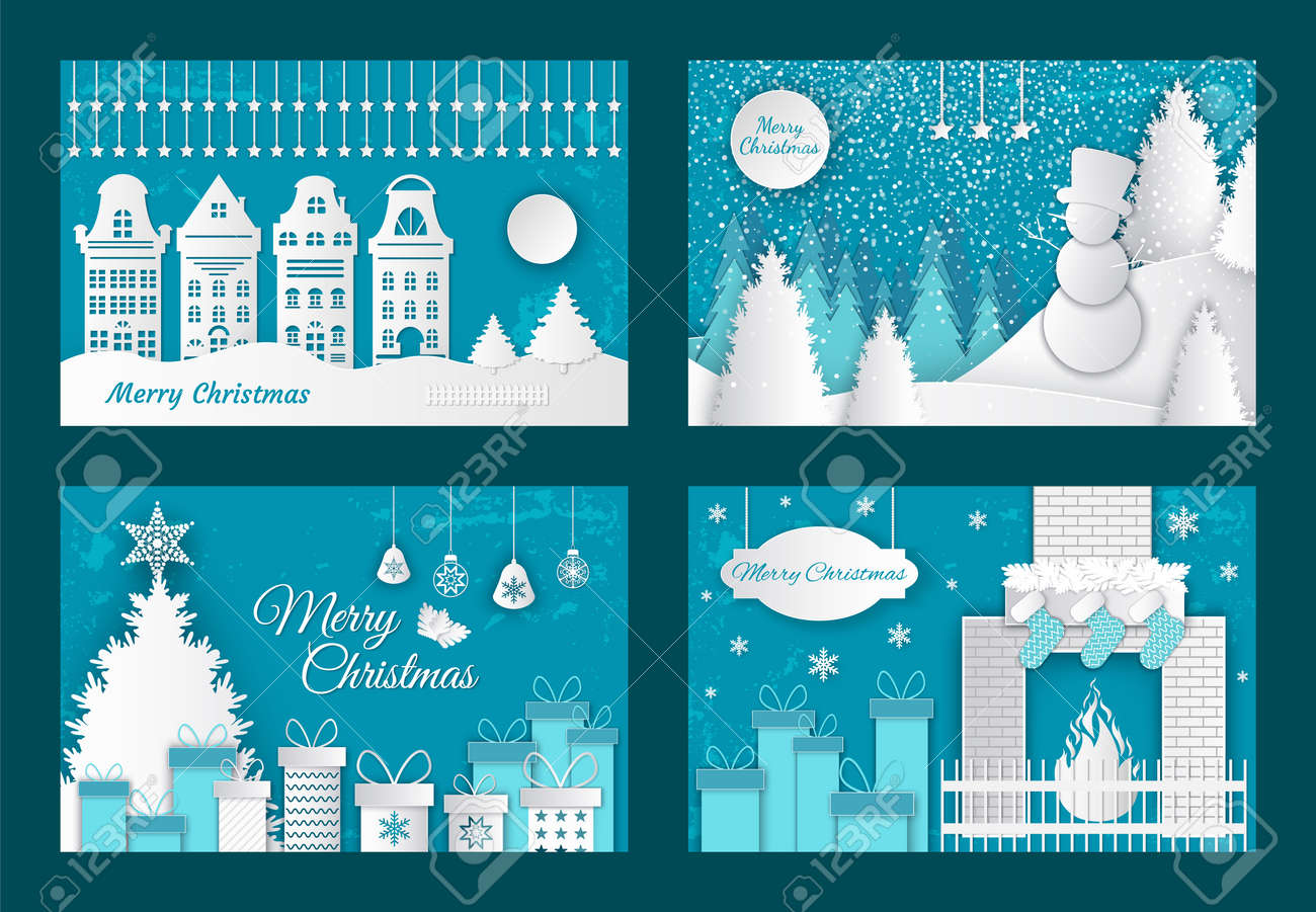 Merry Christmas paper cuts, decorated pine tree with gifts vector. Old town with buildings, fireplace with sock for presents. Snowman in winter wood - 126844357