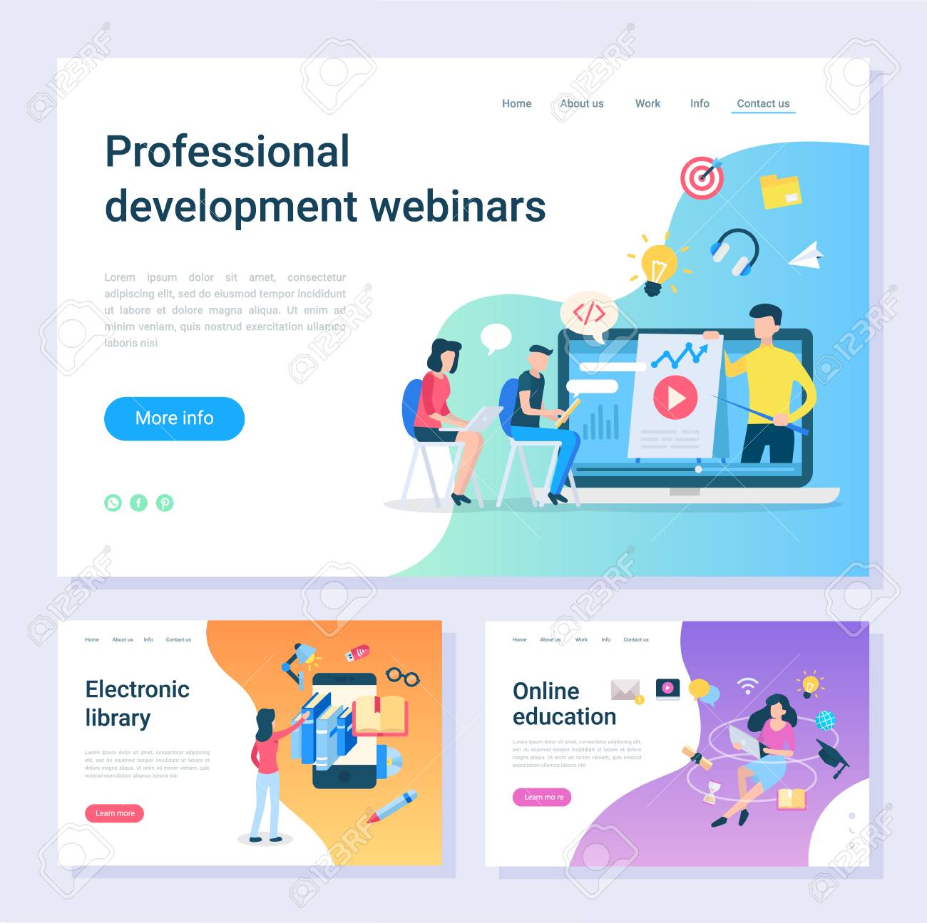 Development webinar, electronic library, online education web pages. Internet learning, programming and information digital source vector illustration - 113720069
