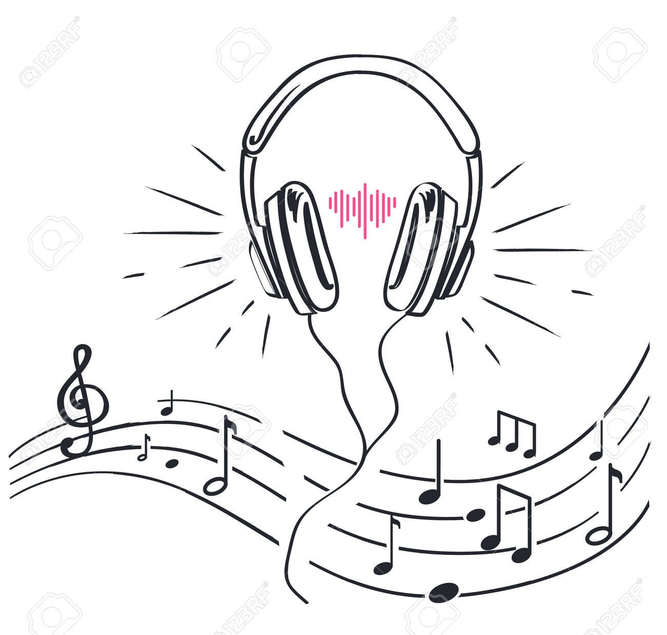 Headphones and sheet music with notes monochrome sketches outline isolated vector line art headset
