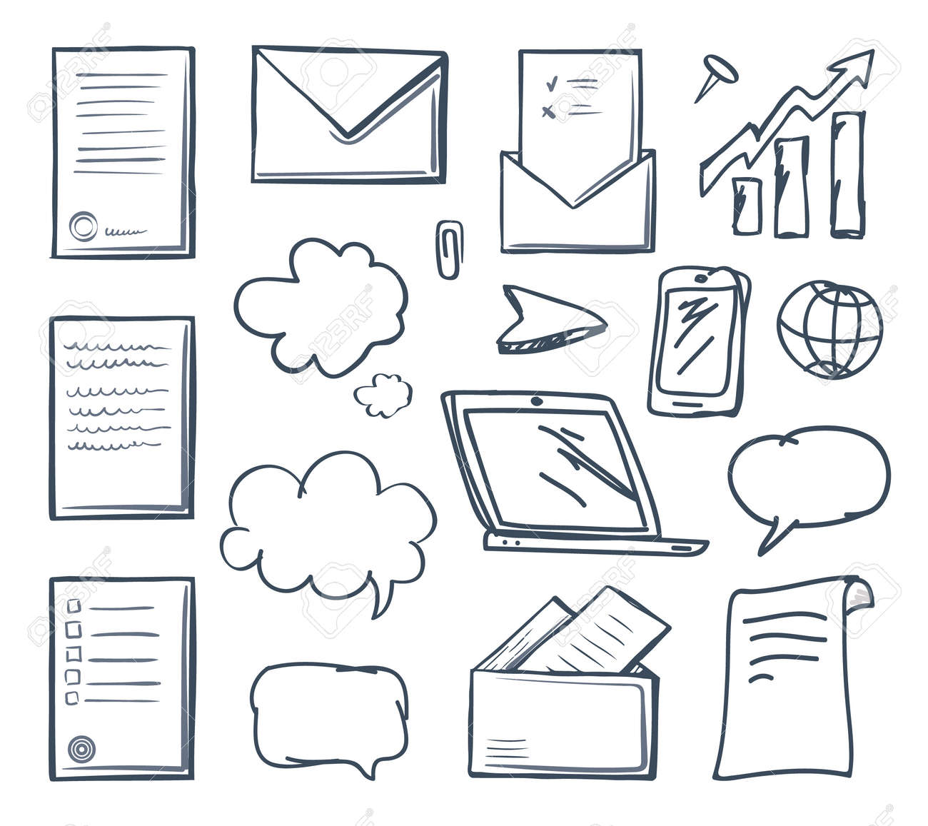 Office paper laptop screen and phone isolated icons set vector. Thought bubble and pointer, increasing indicator cursor and open message in envelope - 126532618