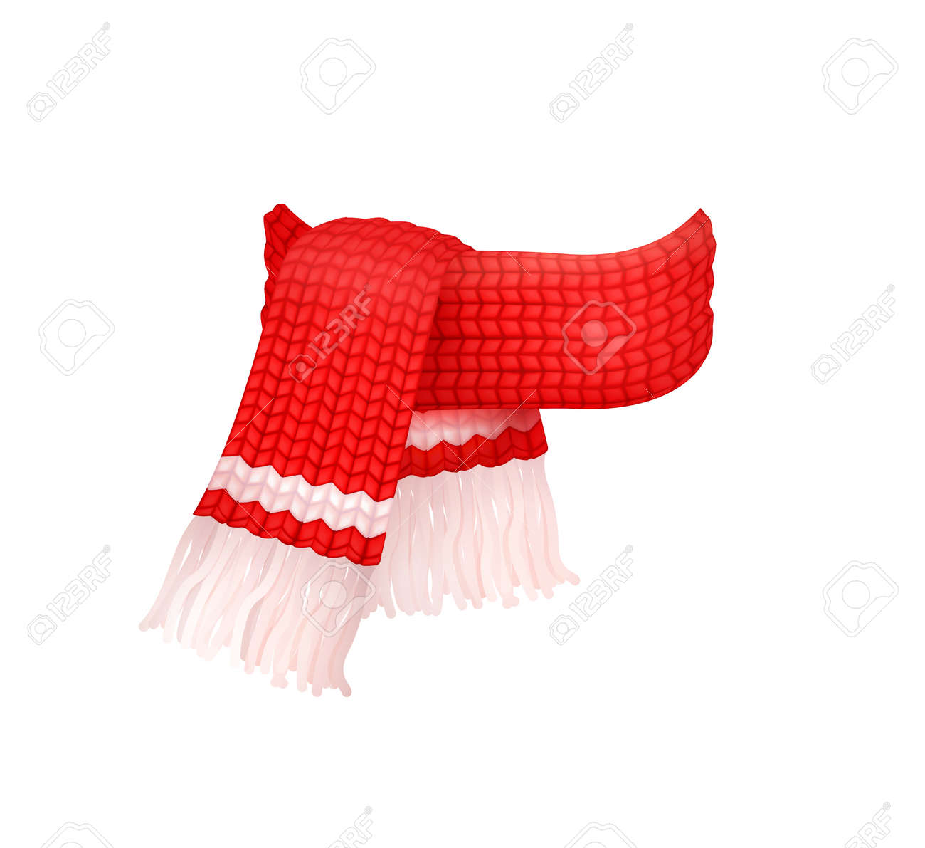 Red Knitted Scarf With White Woolen Threads Isolated Vector Icon Royalty Free Cliparts Vectors And Stock Illustration Image 126377103