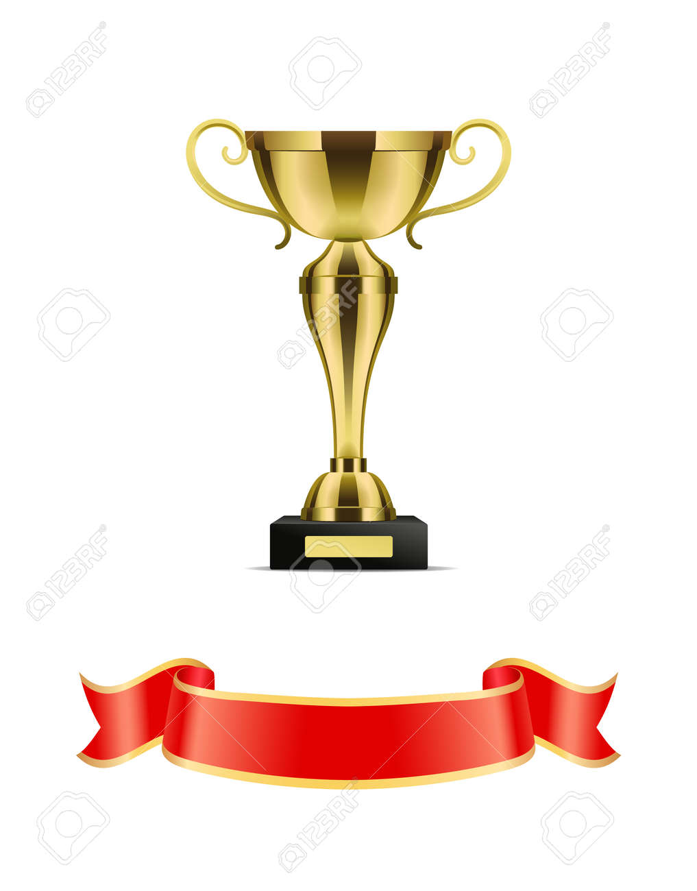 b0cb62eaf Gold trophy cup with red ribbon vector decoration icon. Shiny goblet with  curly handles on