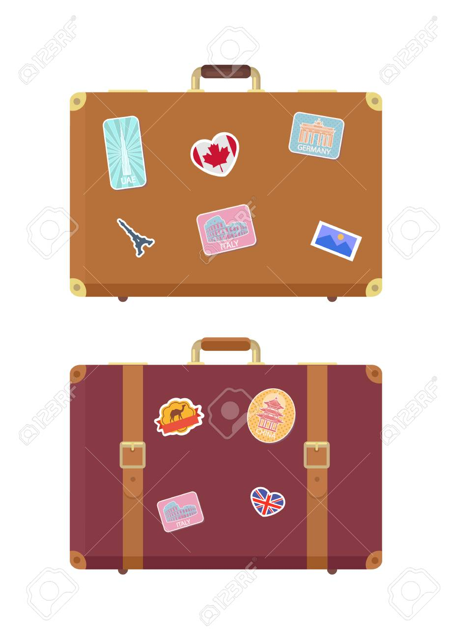 Luggage travel bags with stickers isolated icons set vector. France and Britain flag, UAE building, Italy Rome. Ancient Colosseum sign on luggage - 126297959