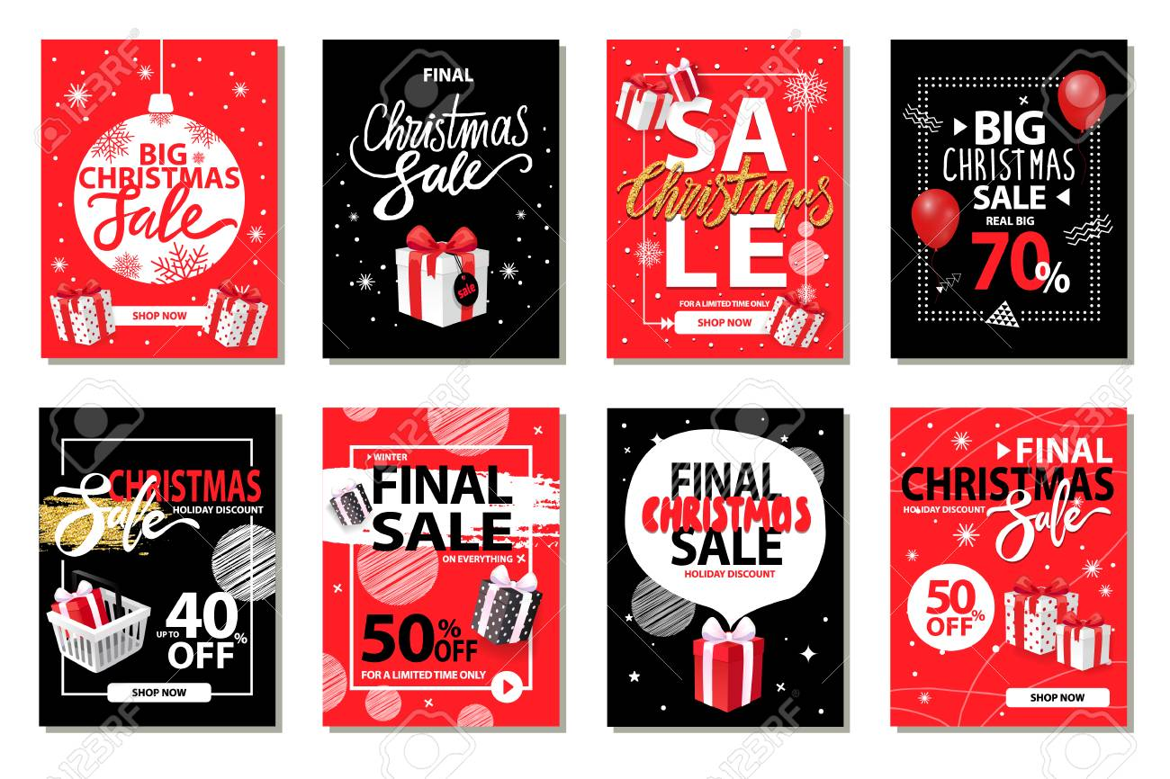 Christmas sale, discounts on winter holiday set vector. Marketing and promotion of exclusive products. Deals and offers of shops, sellout of goods - 126168590