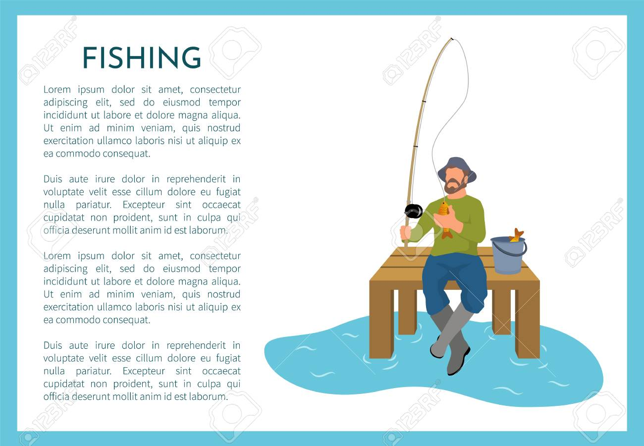Fishing poster with fisherman holding rod sitting on wooden pier. Fishery hunter with text sample and person with bucket and caught fish animal vector - 126128431