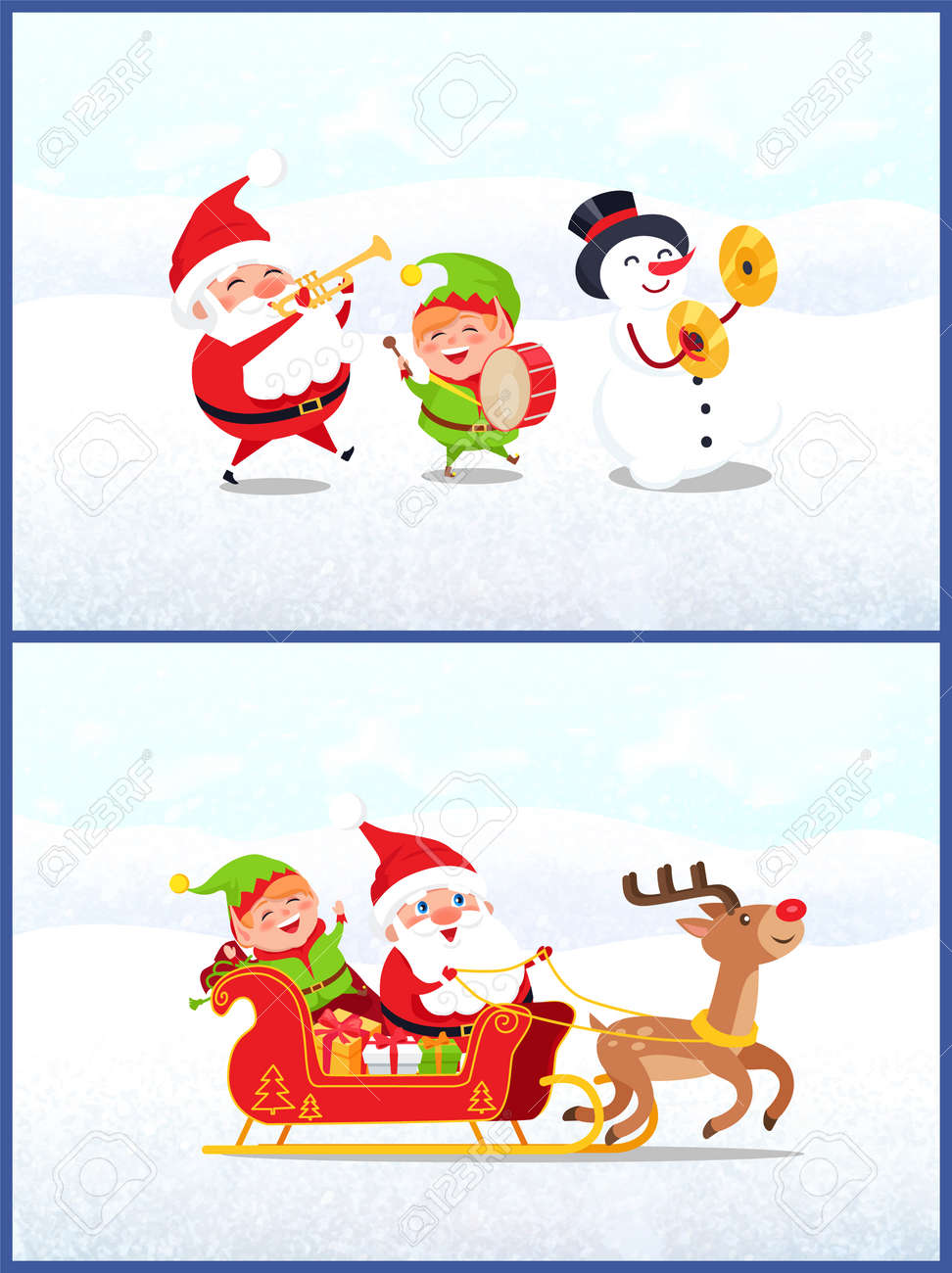 Christmas characters, Santa Claus with elf and snowman holding..