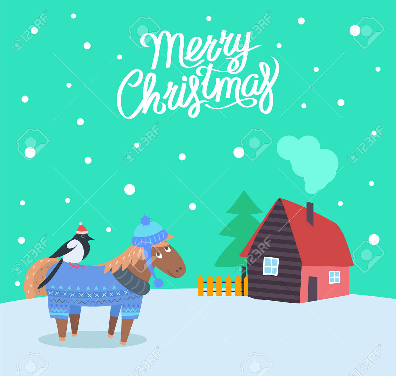 Merry Christmas Greeting Poster With Animals Vector Celebration Royalty Free Cliparts Vectors And Stock Illustration Image 126096710