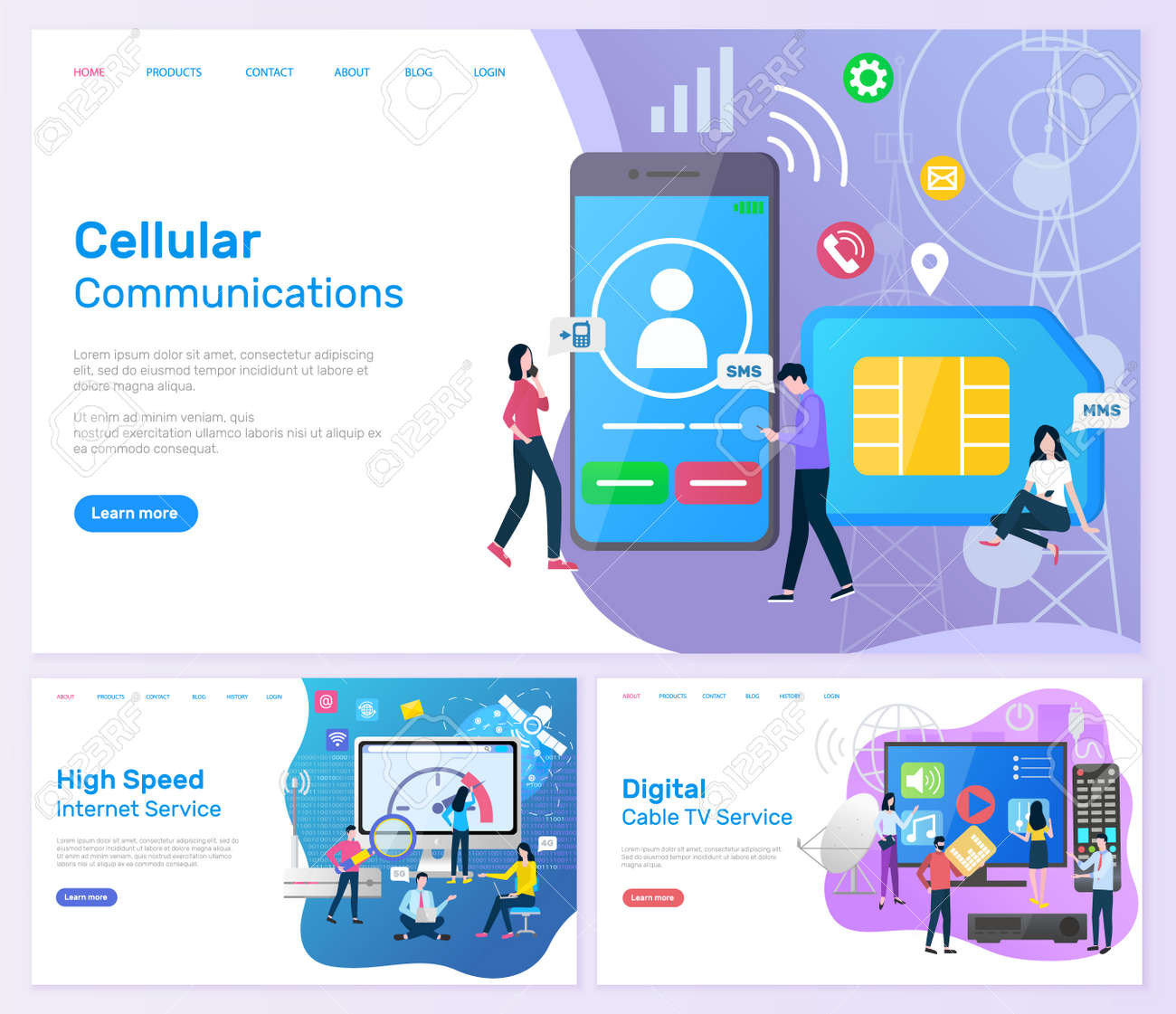 Tv And Internet Service >> Cellular Communication High Speed Internet Service Web Set Vector