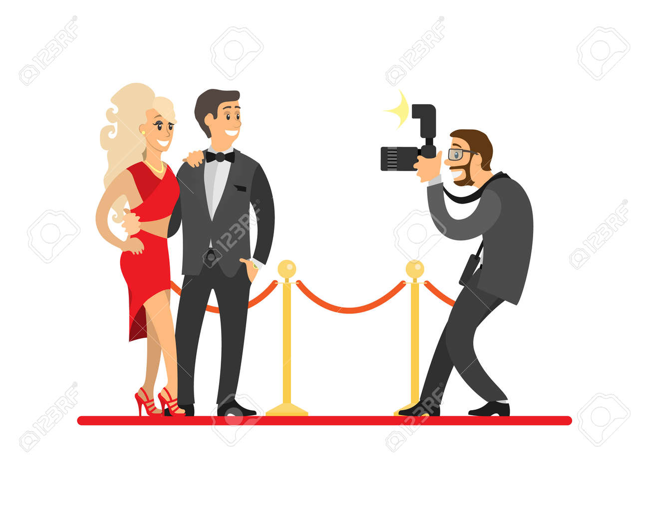 Paparazzi taking photo of celebrities couple on red carpet. Movie stars or singers and photographer with digital camera vector illustration isolated. - 126008737