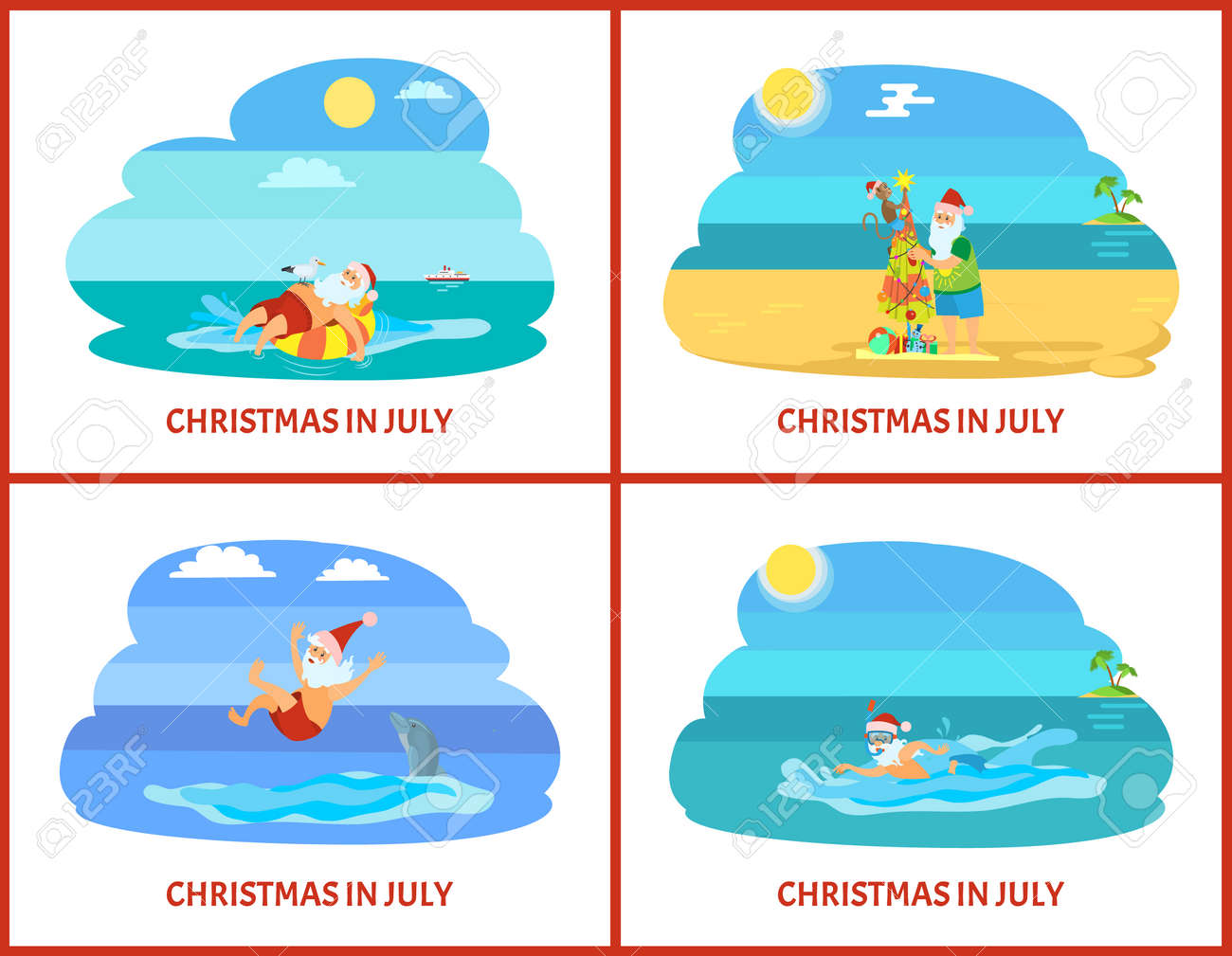 Christmas In July Santa Clipart.Christmas In July Holiday Postcard Santa Relaxing On Rubber