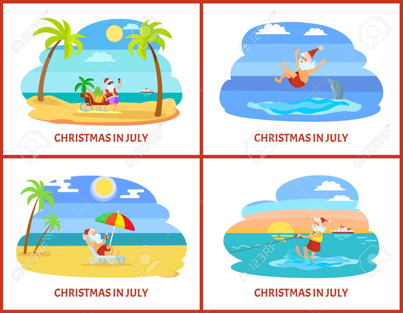 Christmas In July Santa Clipart.Christmas In July Celebration Of Holiday In Summer Vector Santa