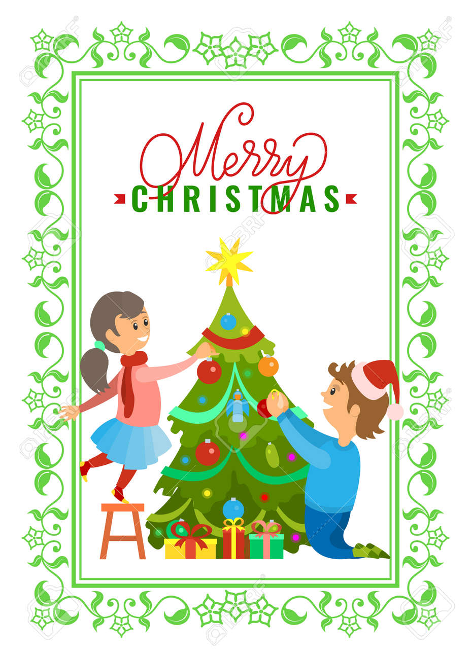 Christmas Wishes Card.Greeting Card Merry Christmas Wishes Boy And Girl Decorating