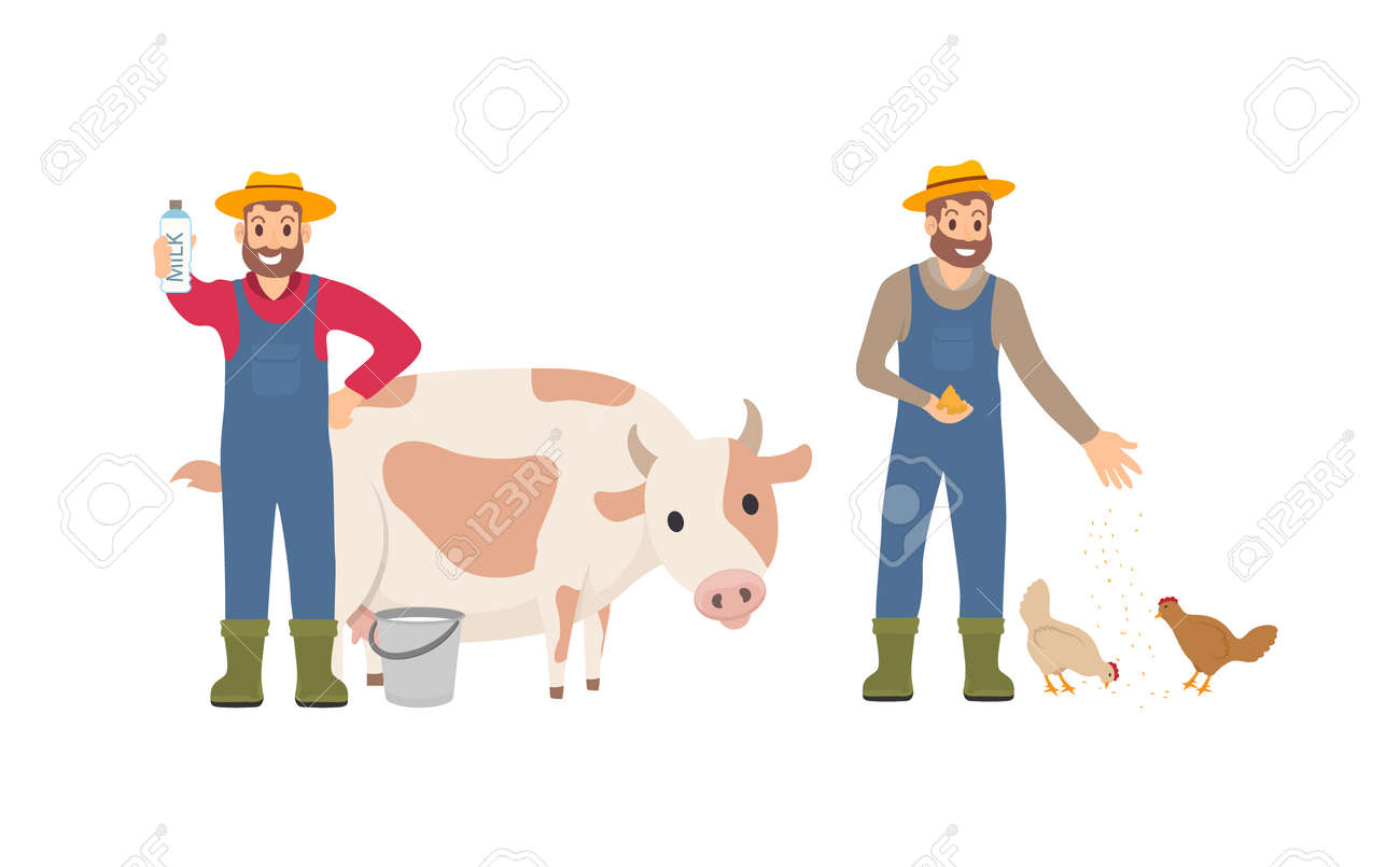 Farmer with milk package set. Person with bucket cow livestock. Animal tending and care for chickens, farming male feeding hens isolated icon vector - 116035350